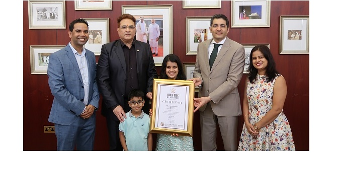 Sara Chhipa, 10-year-old World Book of Records winner felicitated by the Consulate General of India in UAE