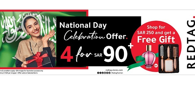 REDTAG introduces National Day Celebration Offer '4 for SAR 90', along with free gifts for customers, to celebrate KSA's 91st National Day